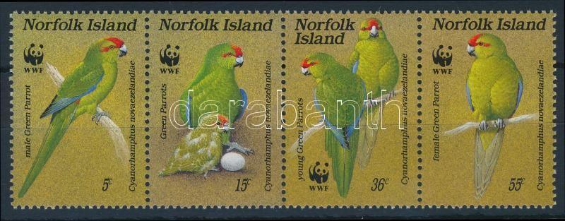 WWF Parrots set stripe of 4, WWF: Papagáj sor 4-es csíkban