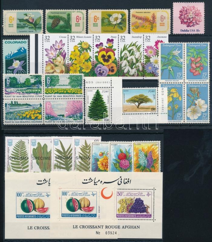 1961-1996 Flowers and fruits 6 sets + 2 blocks + 6 stamps, 1961-1996 Virág és gyümölcs motívum 6 klf sor + 2 blokk + 6 db önálló érték