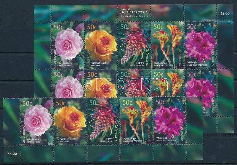 Virág sor ívsarki ötöscsíkban + kisív, Flower corner stripe of 5 + minisheet