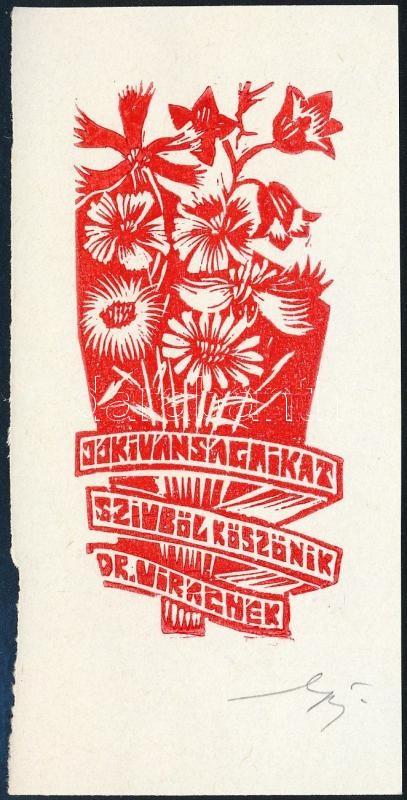 Kósa Bálint (1932-): Ex Libris, dr VIrág.  Linó. papír, jelzett, 11×6 cm