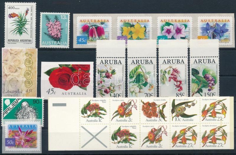 1982-2003 Flower 2 sets + 1 stamp-booklet + 6 stamps, 1982-2003 Virág motívum 2 sor + 1 bélyegfüzet + 6 klf önálló érték