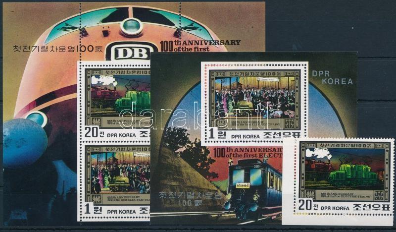 Railway stamp + minisheet + block, Vasút bélyeg + kisív + blokk