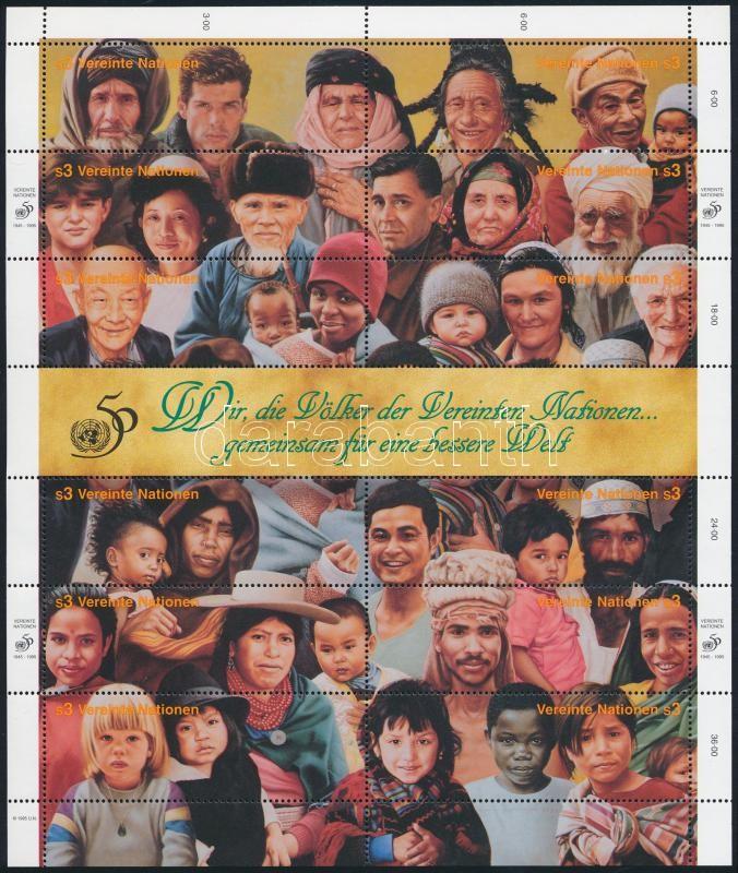 50 éves az ENSZ összefüggő ív, 50th anniversary of UNO sheet
