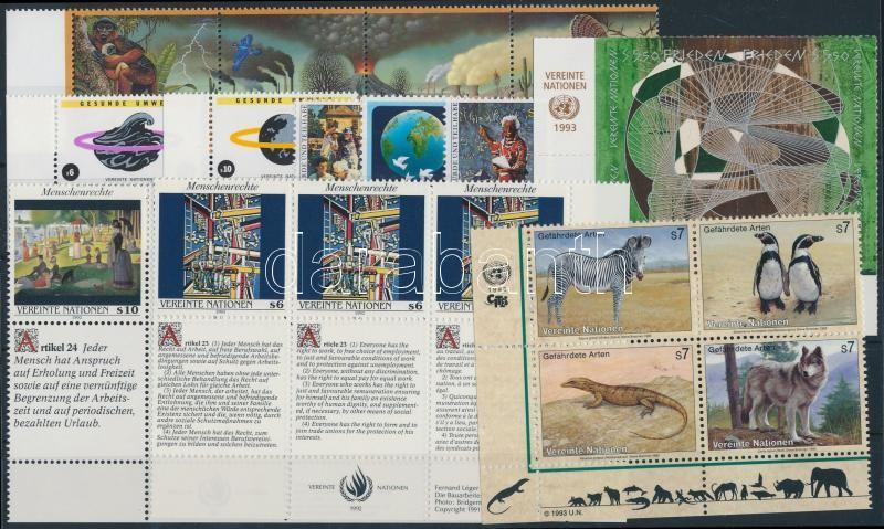 1992-1993 15 stamps + 2 stripes of 3, 1992-1993 15 klf bélyeg + 2 klf hármascsík