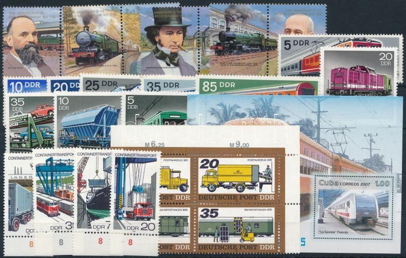 Traffic 1973-2007 4 sets + 1 block of 4 + 1 block, Közlekedés motívum 1973-2007 4 klf sor + 1 négyestömb + 1 blokk