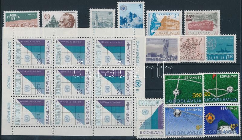 1982-1983 4 set + 1 minisheet + 2 blocks + 22 stamps, 1982-1983 4 db sor + 1 kisív + 2 blokk + 22 klf önálló érték