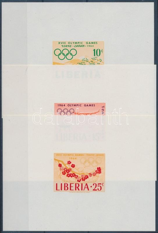 Olympic games 3 imperforate blocks, Olimpia sor vágott blokkformában