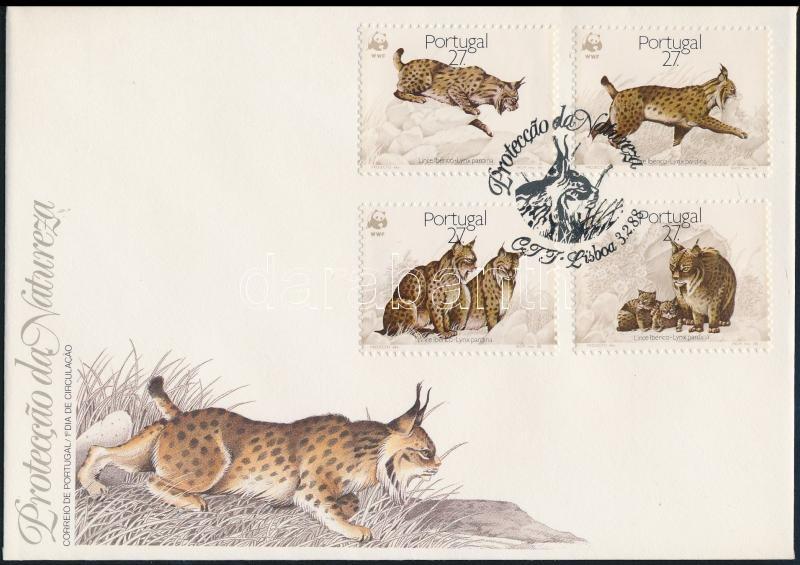 WWF Iberian lynx set FDC, WWF: Ibériai hiúz sor FDC-n