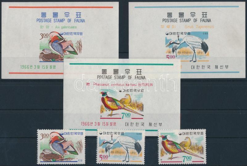 Wildlife, birds set + 3 block, Vadvilág, madarak sor + blokkok