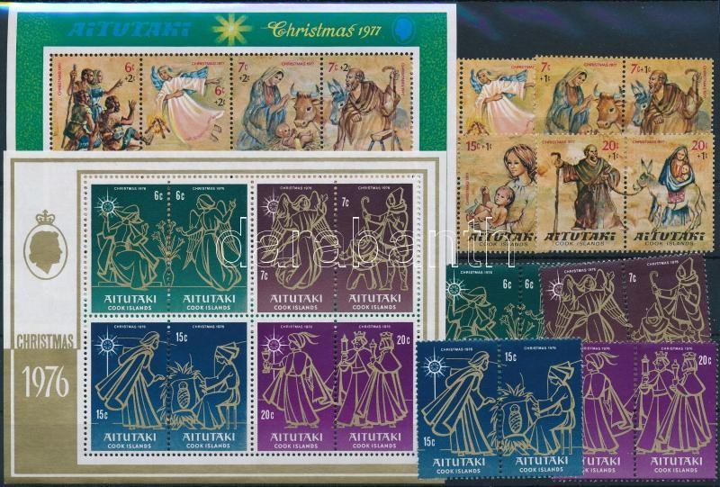 1976/1977 Karácsony: Festészet 2 klf sor + 2 blokk, 1976/1977 Christmas: Painting 2 set + 2 block