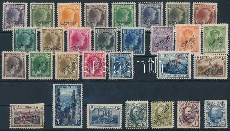 Luxemburg 1899-1928 30 Official stamps, Luxemburg 1899-1928 30 db Hivatalos bélyeg