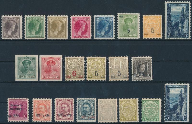 Luxemburg 1907-1927 22 stamps, Luxemburg 1907-1927 22 db bélyeg