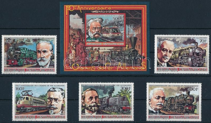 150th anniversars of the Railway set in Germany set + block, 150 éves a német vasút sor + blokk