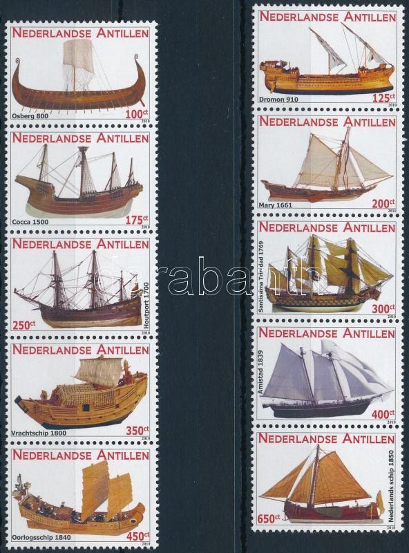 Ship set in 2 stripe of 5, Hajó sor 2 db ötöscsíkban