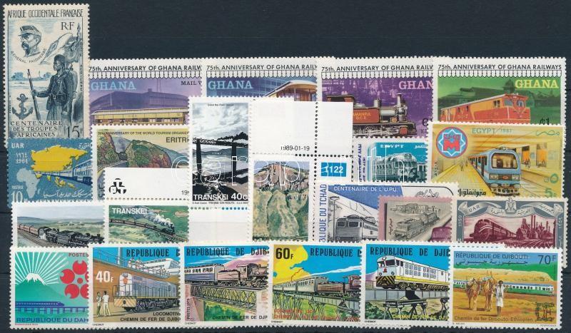 1957-1995 Railway 21 stamps, 1957-1995 Vasút motívum 21 db klf bélyeg, közte teljes sorok