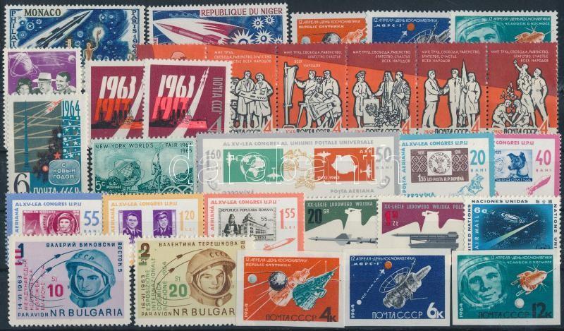 1963-1964 Space travel, space research 30 stamps, 1963-1964 Űrutazás, űrkutatás 30 klf bélyeg, közte sorok, hatoscsík