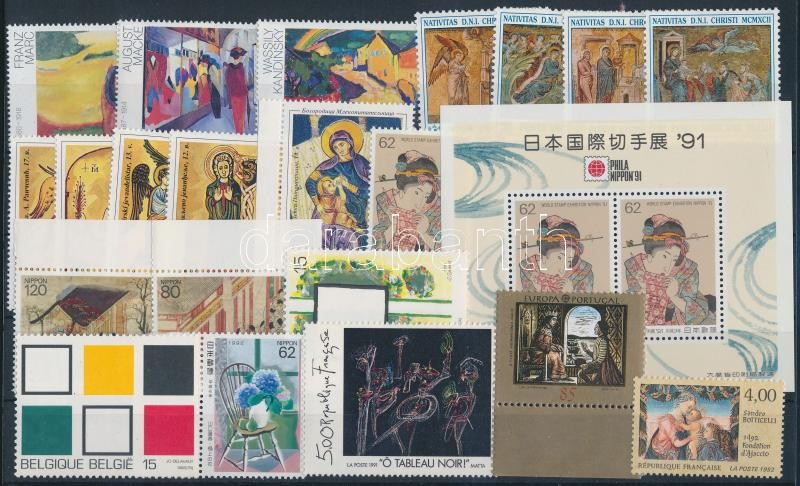 Festmény motívum 1991-1992 5 klf sor + 7 klf önálló érték + 1 blokk, Painting motive 1991-1992 5 sets + 7 diff stamps + 1 block