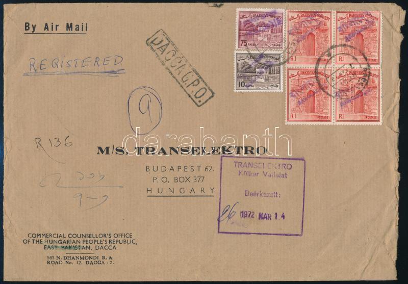 Registered airmail cover to Hungary with Pakistani stamps with handstamp overprint, Ajánlott légi levél Budapestre felülbélyegzett pakisztáni bélyegekkel