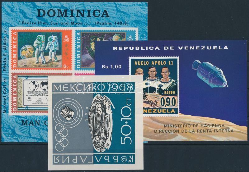 1968-1969 Space research 3 blocks, 1968-1969 Űrkutatás 3 klf blokk