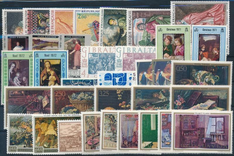 Festmény motívum 1971-1974 9 klf sor + 11 klf önálló érték, Painting motive 1971-1974 9 sets + 11 diff stamps