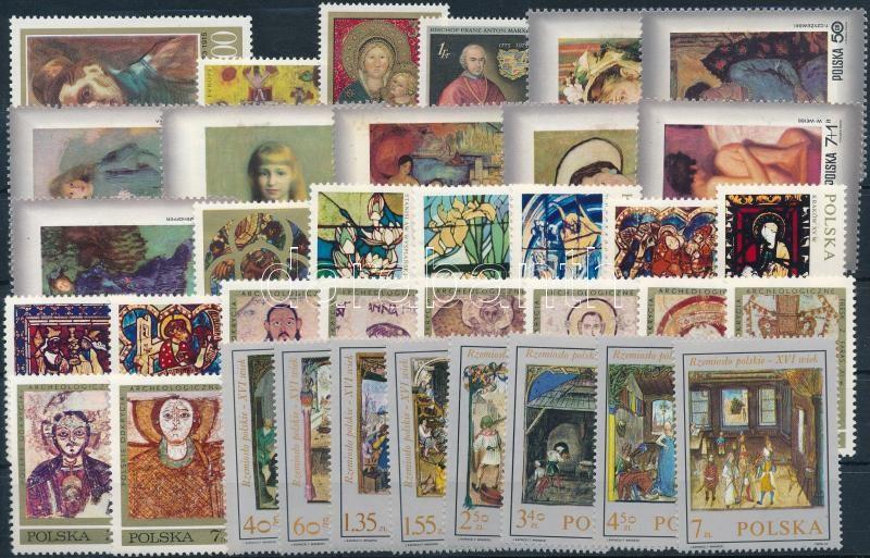 Painting motive 1969-1973 4 sets + 4 diff stamps, Festmény motívum 1969-1973 4 klf sor + 4 klf önálló érték