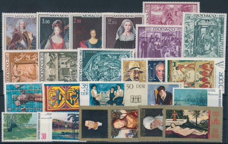 Painting motive 1972-1973 6 sets + 3 diff stamps, Festmény motívum 1972-1973 6 klf sor + 3 klf önálló érték