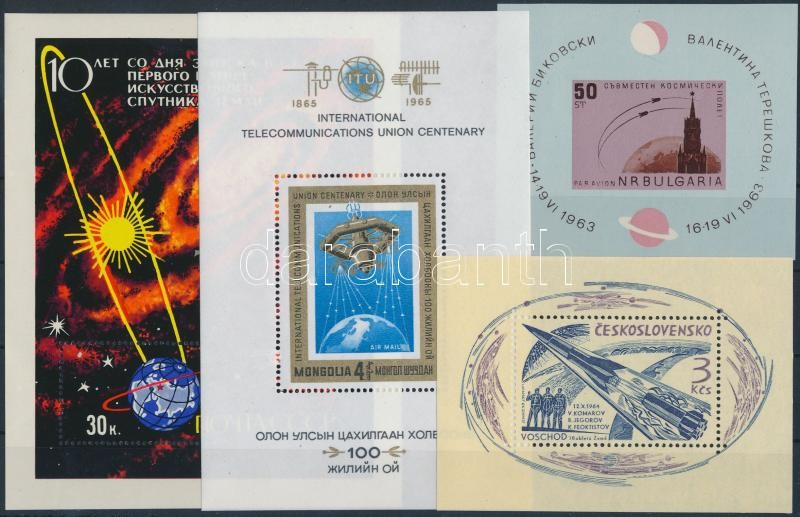 1963-1967 Space research 4 blocks, 1963-1967 Űrkutatás 4 klf blokk