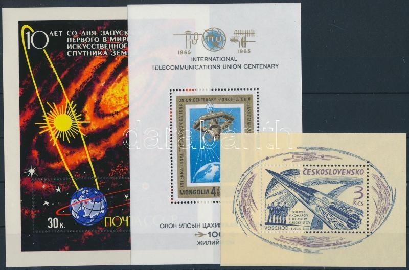 1964-1967 Space research 3 blocks, 1964-1967 Űrkutatás 3 klf blokk