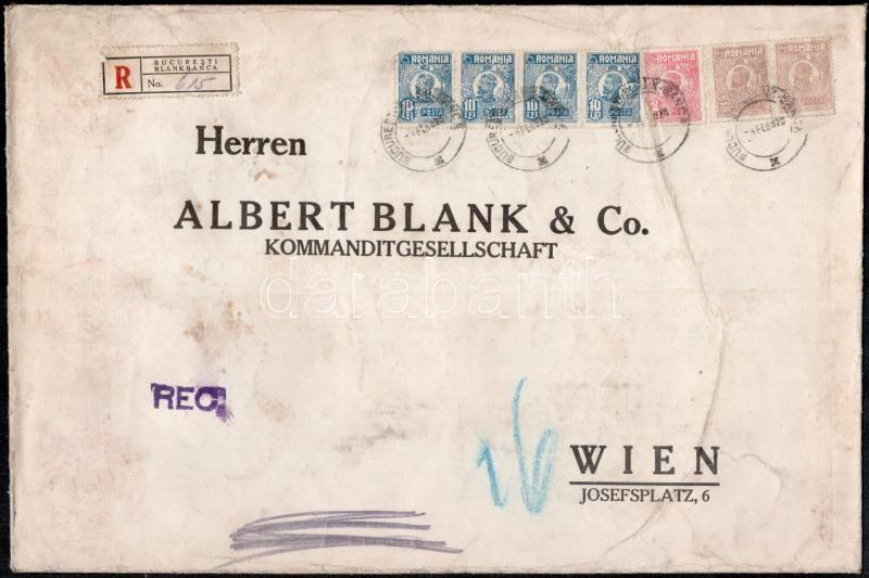 """Perfin stamps on registered bank cover to Vienna, Ajánlott banklevél Bécsbe 42.50 Lei bérmentesítéssel, """"M B & Co"""" céglyukasztásos bélyegekkel"""