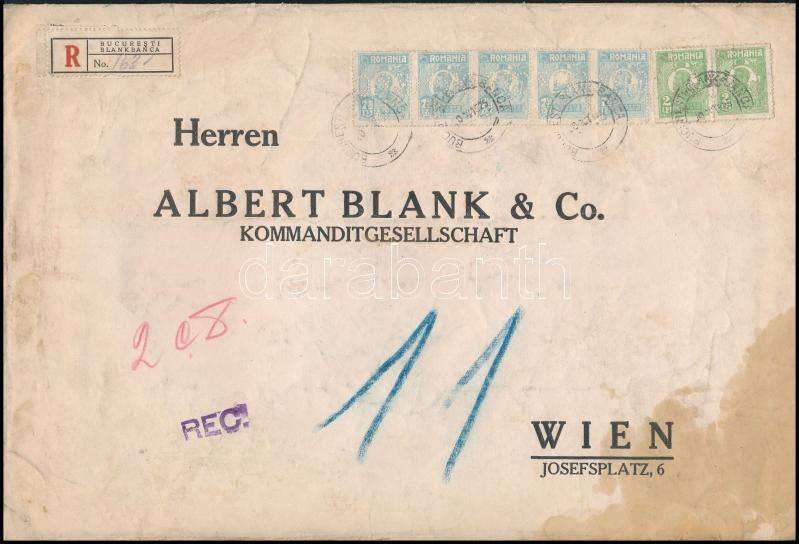 """Perfin stamps on registered bank cover to Vienna, Ajánlott banklevél Bécsbe 41.50 Lei bérmentesítéssel, """"M B & Co"""" céglyukasztásos bélyegekkel"""