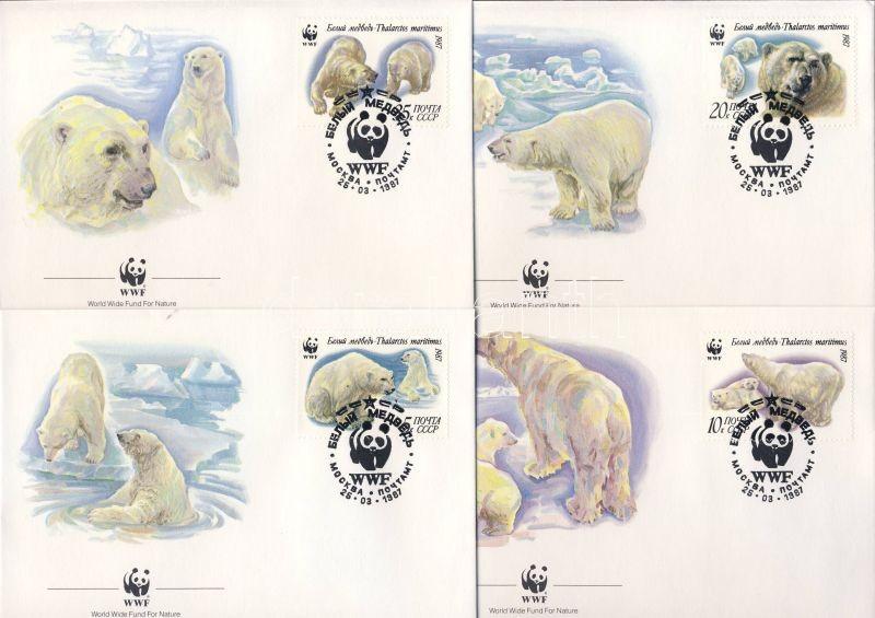 WWF Polar bears set on 4 FDC, WWF Jegesmedvék sor 4 FDC, WWF Eisbär Satz an 4 FDC