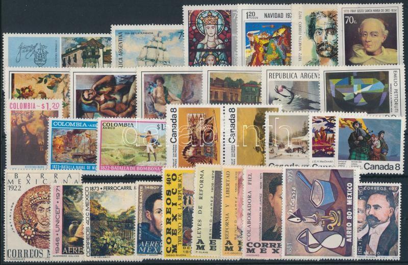 Art motive 1972-1974 4 sets + 21 diff stamps 1 pair, Művészet motívum 1972-1974 4 klf sor + 21 klf önálló érték 1 pár
