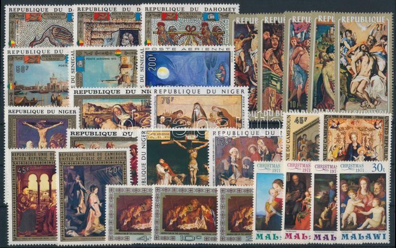 Painting motive 1971-1974 8 sets + 1 diff stamp, Festmény motívum 1971-1974 8 klf sor + 1 önálló érték