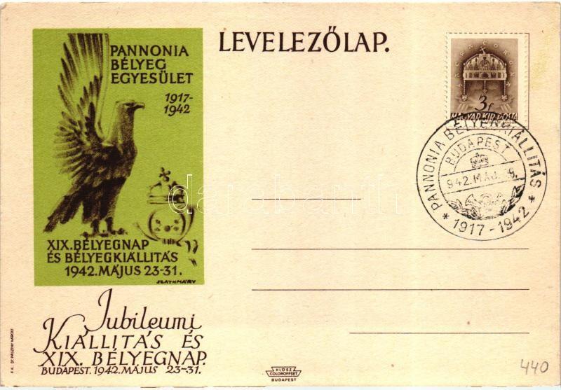 19th Hungarian stamp exhibition. s: Szathmáry, 1942 XIX. Bélyegnap és Bélyegkiállítás, Pannonia Bélyeg Egyesület , s: Szathmáry