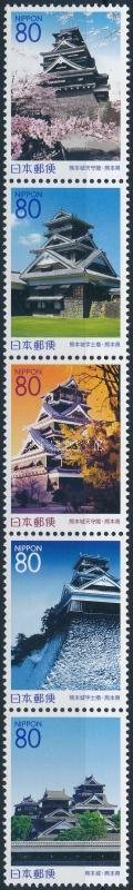 Kumamoto Prefecture mini sheet, Kumamoto prefektúra ötöscsík