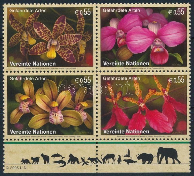 Endangered species margin block of 4, Veszélyeztetett fajok ívszéli négyestömb