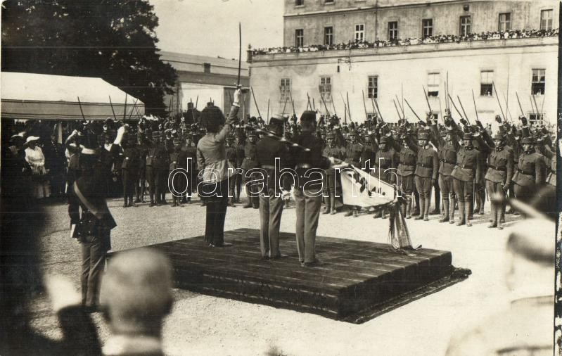 WWI K.u.K. military officers' inauguration and oath in Wiener Neustadt, photo, 1917 Bécsújhely, tisztavatás és eskü