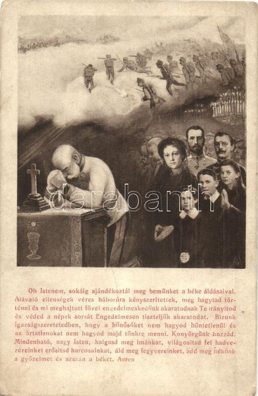 Praying Franz Joseph with soldiers on the battlefield. B.L.W.I. No. 626., Oh Istenem..., Ferenc József imádkozik a csatatéren, B.L.W.I. No. 626.