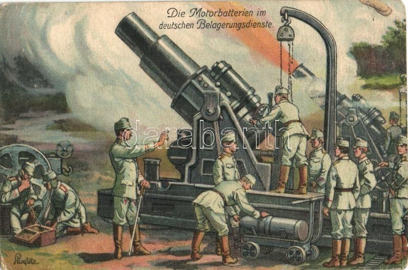 Weltkrieg 1914-1915. Die Motorbatterien im deutschen Belagerungsdienste / The motor cannons in the German siege service, Wenau-Postkarte No. 126. artist signed, 1914-1915. Motorágyuk a német ostromszolgálatban
