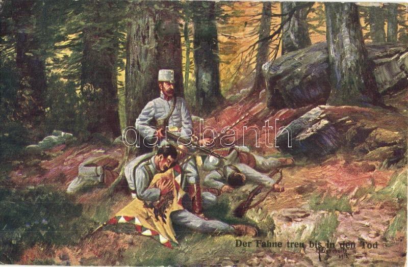 Der Fahne treu bis in den Tod / WWI K.u.k. military art postcard s: M. Duschnitz + K.u.K. Infanterie-Regiment Kaiserin und Königin Maria Theresia Nr. 32., K.u.K. hadsereg művészeti képeslap, s: M. Duschnitz