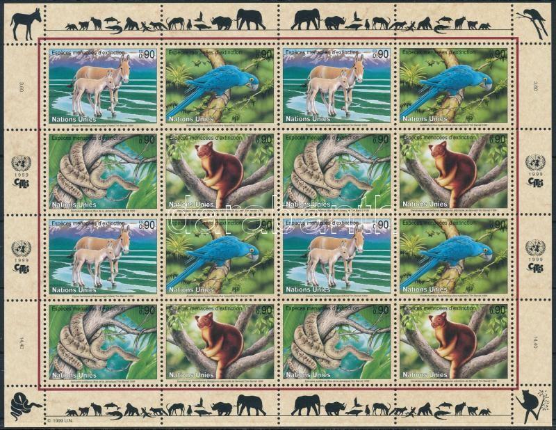 Endangered animals mini sheet Veszélyeztetett állatok kisív
