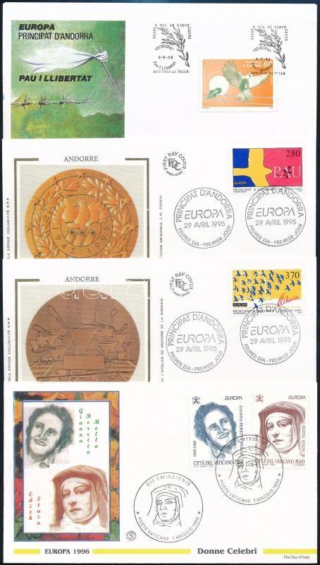 Europa CEPT 1995-1996 4 diff FDC, Europa CEPT 1995-1996 4 klf FDC