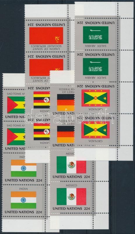 Flag set in corner stripes of 4, Zászló sor ívsarki négyescsíkban