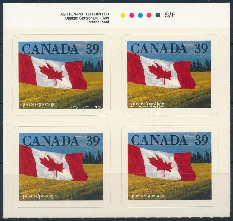 Definitive, flag self-adhesive block of 4, Forgalmi zászló öntapadós négyestömb