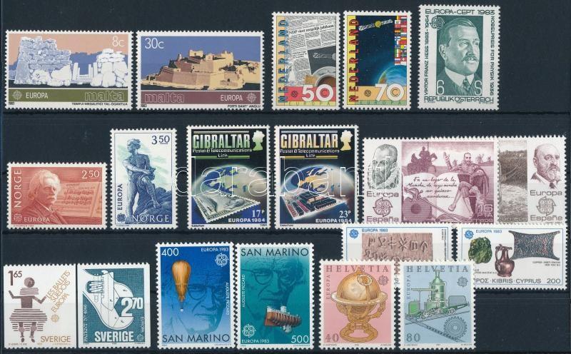 1983-1984 Europa CEPT 9 sets + 1 stamp, 1983-1984 Europa CEPT motívum 9 klf sor + 1 db önálló érték