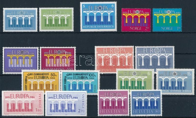 Europa CEPT 7 sets + 2 stamps, Europa CEPT motívum 7 klf sor + 2 db önálló érték