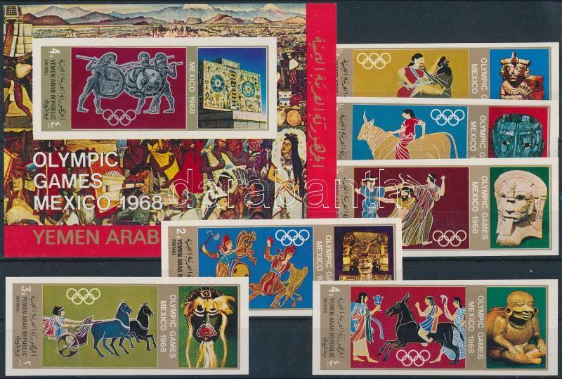 Summer Olympics imperforated set + imperforated block, Nyári olimpia vágott sor + vágott blokk