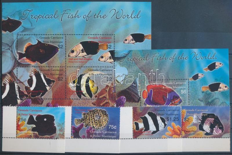 Fish set + mini sheet + block, Halak sor + kisív + blokk