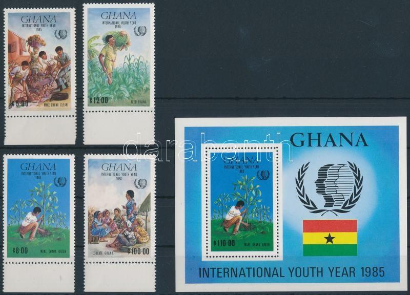 International Year of Youth margin set + block, Az ifjúság nemzetközi éve ívszéli sor + blokk