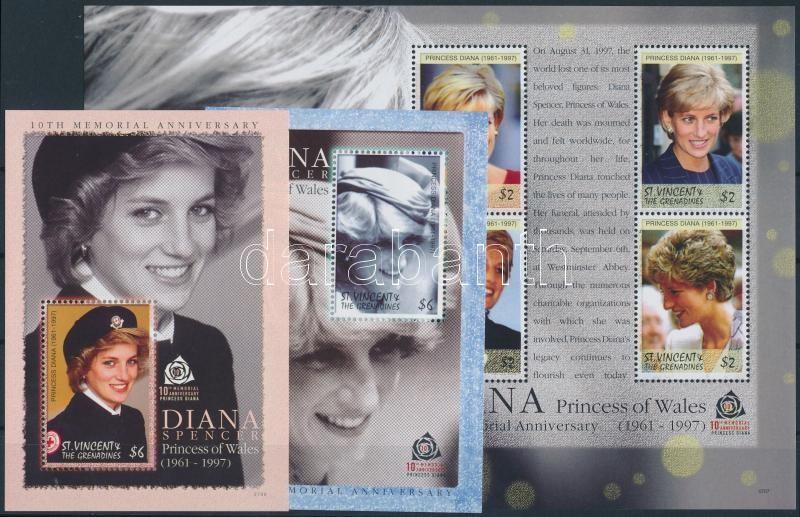 Diana mini sheet + blockset, Diana kisív + blokksor